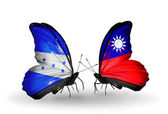 Butterflies with Honduras and  Taiwan flags on wings — Stock Photo