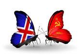 Motýli s příznaky islandu a sovětský svaz na křídlech — Stock fotografie