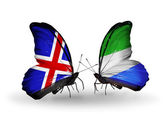 Butterflies with  Iceland and Sierra Leone flags on wings — Stock Photo