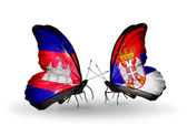 Butterflies with Cambodia and  Serbia flags on wings — Stockfoto