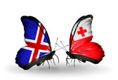 Butterflies with Iceland and Tonga flags on wings — Stockfoto