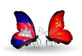 翼にカンボジアとソ連のフラグと蝶 — ストック写真