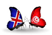 Butterflies with Iceland and  Tunisia flags on wings — Stock Photo