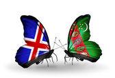 Fjärilar med island och turkmenistan flaggor på vingar — Stockfoto