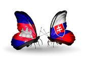 Motýli s příznaky kambodži a slovensko na křídlech — Stock fotografie