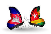 Butterflies with Cambodia and  Togo flags on wings — Stock fotografie
