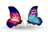 Butterflies with Cambodia and  Tuvalu flags on wings — Foto de Stock