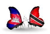 Butterflies with Cambodia and  Trinidad and Tobago flags on wings — Photo