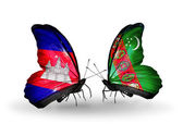 Butterflies with   Cambodia and  Turkmenistan flags on wings — Stock fotografie