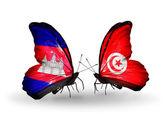 Motýli s příznaky kambodži a tunisko na křídlech — Stock fotografie