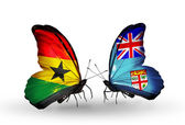 Butterflies with Ghana and Fiji flags on wings — Photo