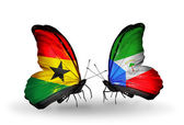 Butterflies with Ghana and Equatorial Guinea flags on wings — Stock Photo