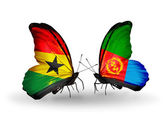 Butterflies with Ghana and Eritrea flags on wings — Stockfoto