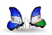 Butterflies with Honduras and  Uzbekistan flags on wings — Stock Photo