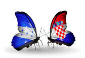 Butterflies with  Honduras and  Croatia flags on wings — Stock Photo