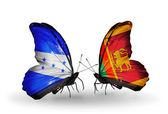 Butterflies with Honduras and  Sri Lanka flags on wings — Stock Photo