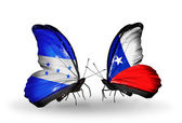 Butterflies with Honduras and   Chile flags on wings — Stock Photo