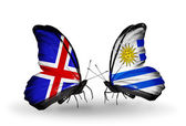 Butterflies with Iceland and Uruguay flags on wings — Stock Photo