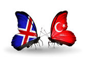 Butterflies with Iceland and Turkey flags on wings — Stockfoto