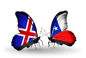 Butterflies with  Iceland and Chile flags on wings — Stockfoto