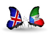 Butterflies with Iceland and Equatorial Guinea flags on wings — Stock Photo