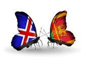 Papillons avec des drapeaux de l'islande et de sri lanka sur les ailes — Photo