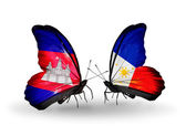 Butterflies with Cambodia and  Philippines flags on wings — Stock Photo