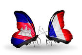Butterflies with Cambodia and   France flags on wings — Stock Photo