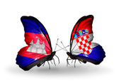 Papillons avec des drapeaux au cambodge et de la croatie sur les ailes — Photo