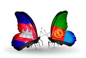 Butterflies with Cambodia and  Eritrea flags on wings — Stock Photo