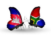 Butterflies with Cambodia and  South Africa flags on wings — Stockfoto