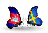 Butterflies with  Cambodia and  Sweden flags on wings — Stock Photo