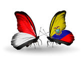 Butterflies with Monaco, Indonesia and Ecuador flags on wings — Stockfoto