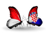 Butterflies with Monaco, Indonesia and Croatia flags on wings — Stockfoto