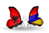 Butterflies with  Albania and Armenia flags — Stock Photo