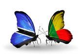 Butterflies with Botswana and  Benin flags — Stock Photo