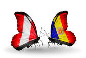 Butterflies with Peru and Andorra flags — Stock Photo