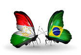 Butterflies with Tajikistan and Brazil flags — Stock Photo