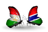 Butterflies with  Tajikistan and Gambia flags — Stock Photo