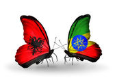 Butterflies with  Albania and  Ethiopia flags — Stock Photo