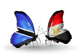 Butterflies with Botswana and Egypt flags — Stok fotoğraf