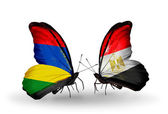 Butterflies with Mauritius and Egypt flags — Zdjęcie stockowe