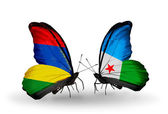 Butterflies with  Mauritius and Djibouti flags — Zdjęcie stockowe