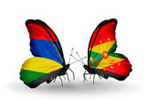 Butterflies with  Mauritius and Grenada flags — Stock Photo