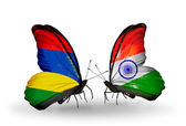 Butterflies with Mauritius and India flags — Stock Photo