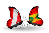 Butterflies with Peru and Grenada flags — Stock Photo