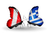Butterflies with Peru and Greece flags — 图库照片