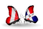 Motýli s příznaky peru a dominicana — Stock fotografie