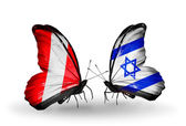 Butterflies with Peru and Israel flags — Zdjęcie stockowe