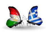 Butterflies with Tajikistan and Greece flags — Stok fotoğraf